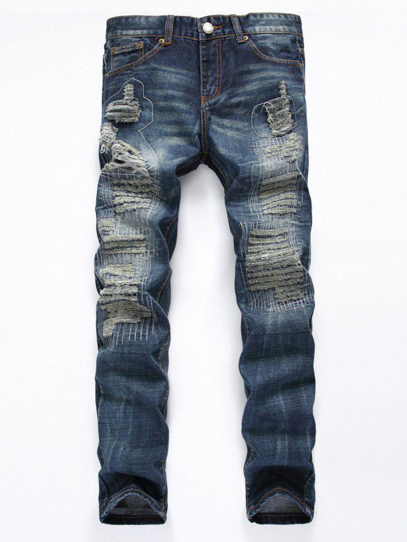 Zipper Fly Frayed Stitching Ripped Jeans - DEEP BLUE 34