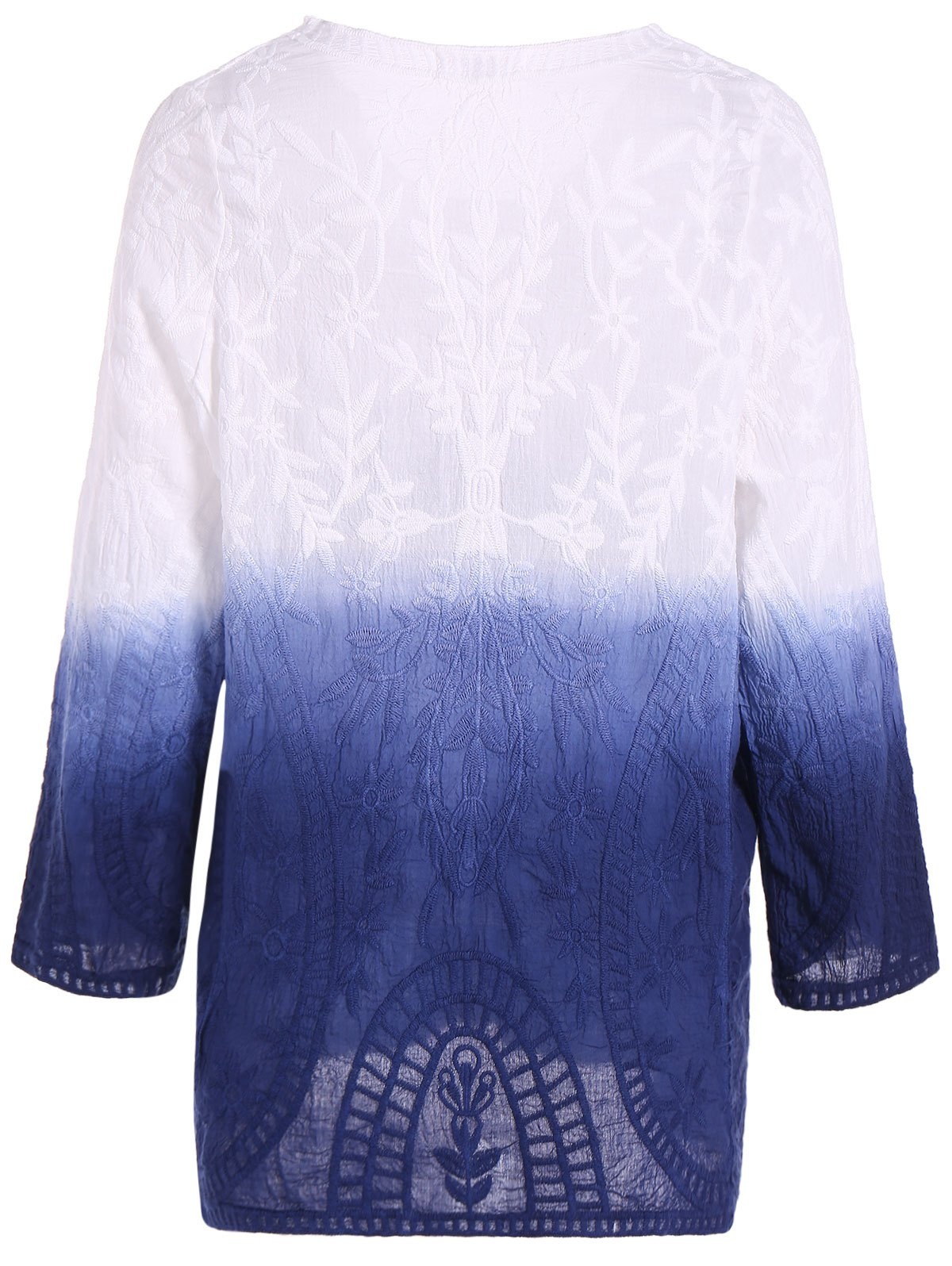 Lace Long Sleeve Gradient Loose Tee - DENIM BLUE ONE SIZE