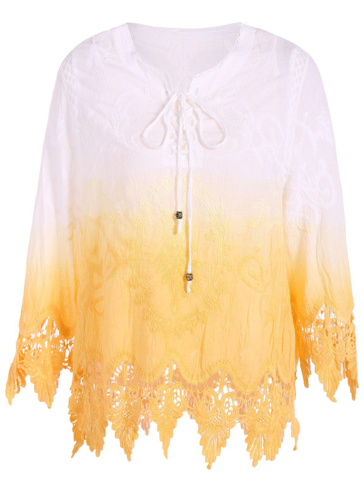 Asymmetric Lace Openwork Blouse - YELLOW ONE SIZE