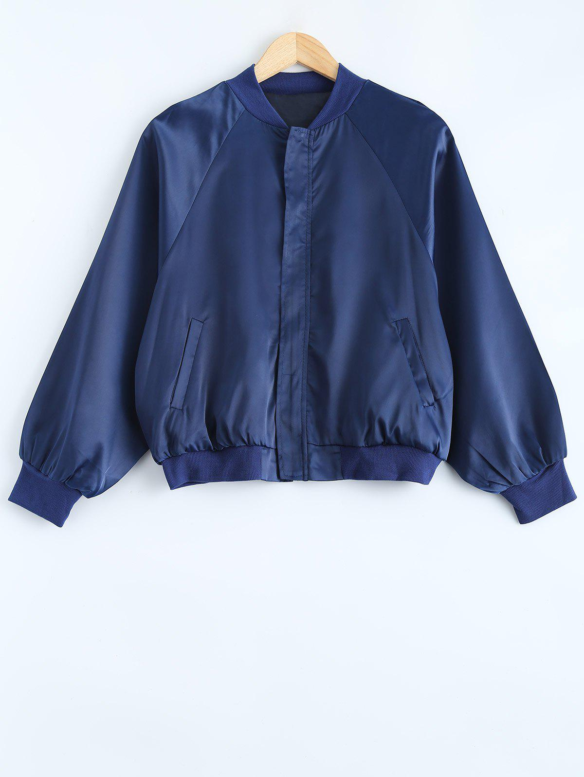 Stand Collar Wind Loose Fitting JacketWomen<br><br><br>Size: ONE SIZE<br>Color: BLUE