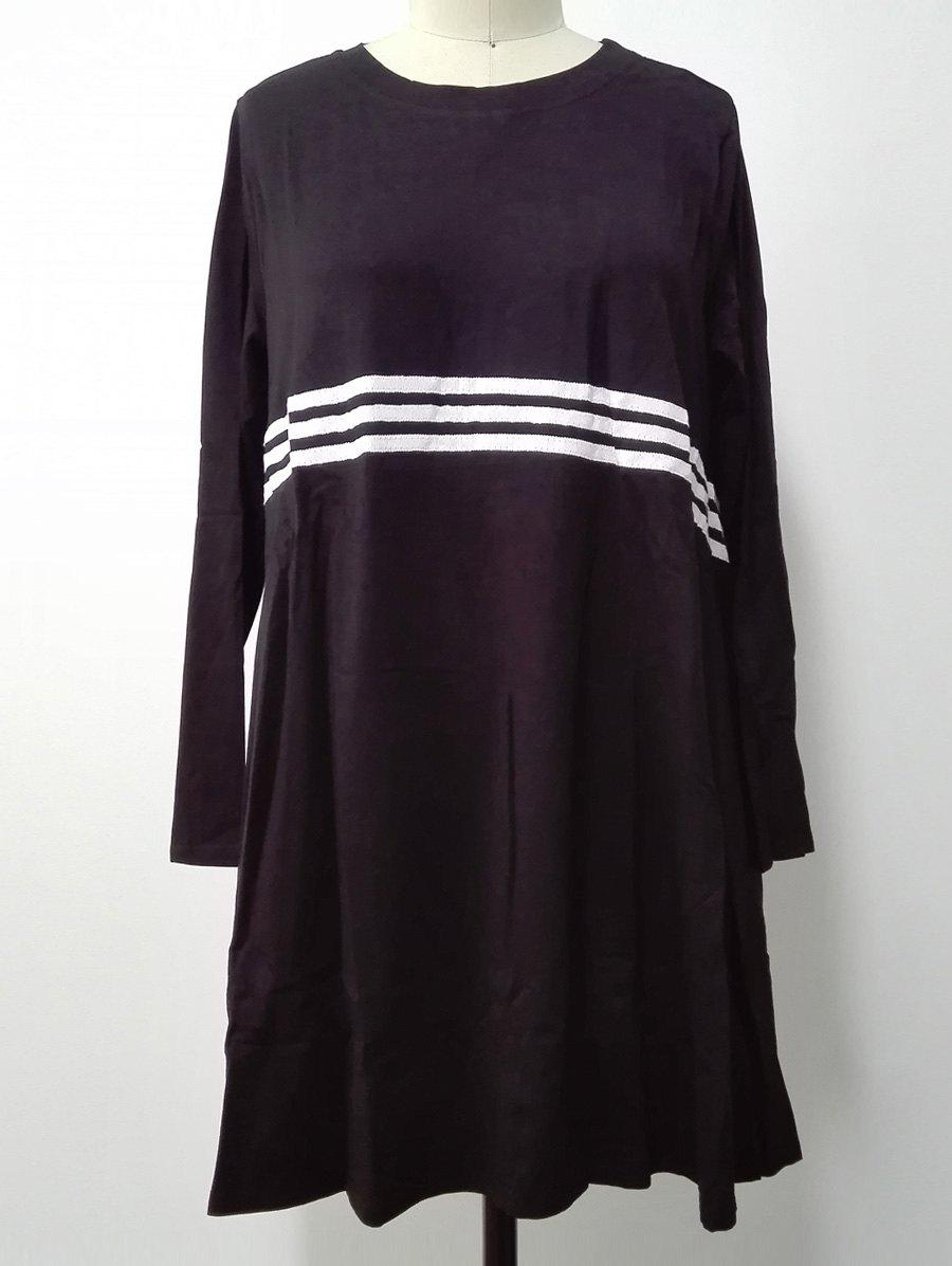 Long Sleeves Striped Print Dress - BLACK ONE SIZE