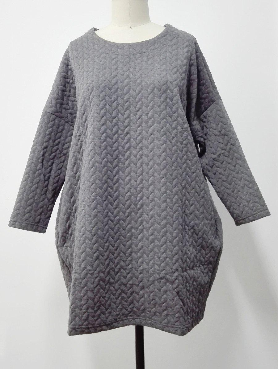 Side Pocket Design Textured Dress - GRAY M