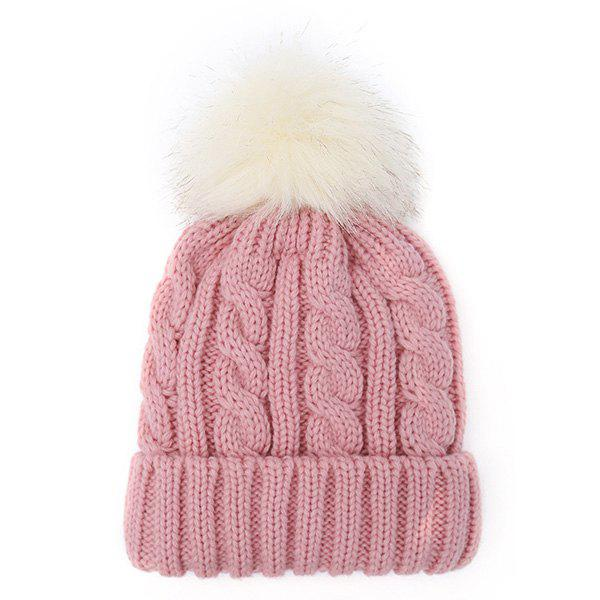 Fuzzy Ball Hemp Flowers Thicken Double-Deck Knit Beanie - PINK