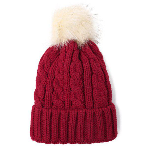 Fuzzy Ball Hemp Flowers Thicken Double-Deck Knit Beanie - WINE RED