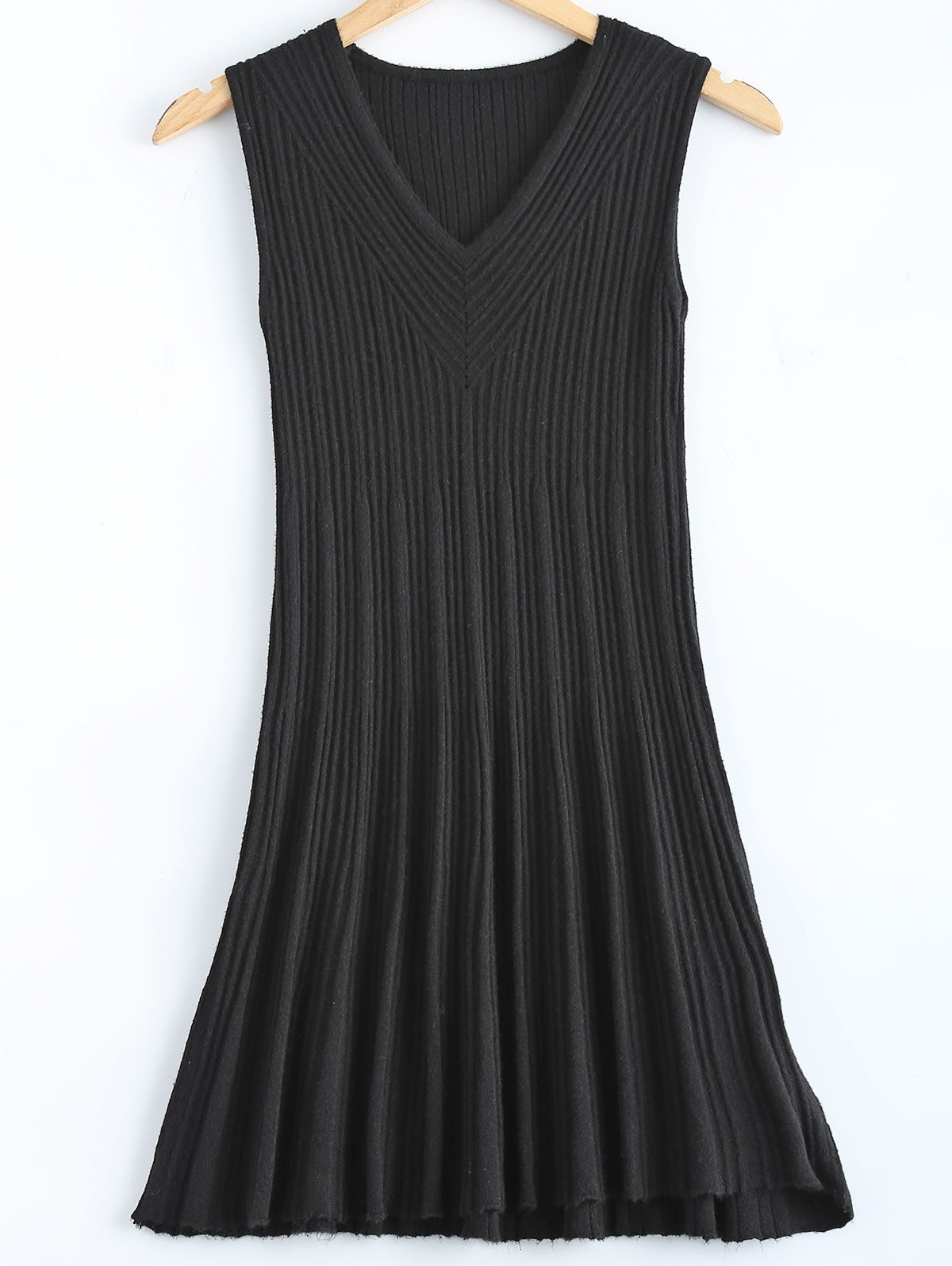 Ribbed V-Neck Knitted Sleeveless Dress веб камера a4tech pk 836f