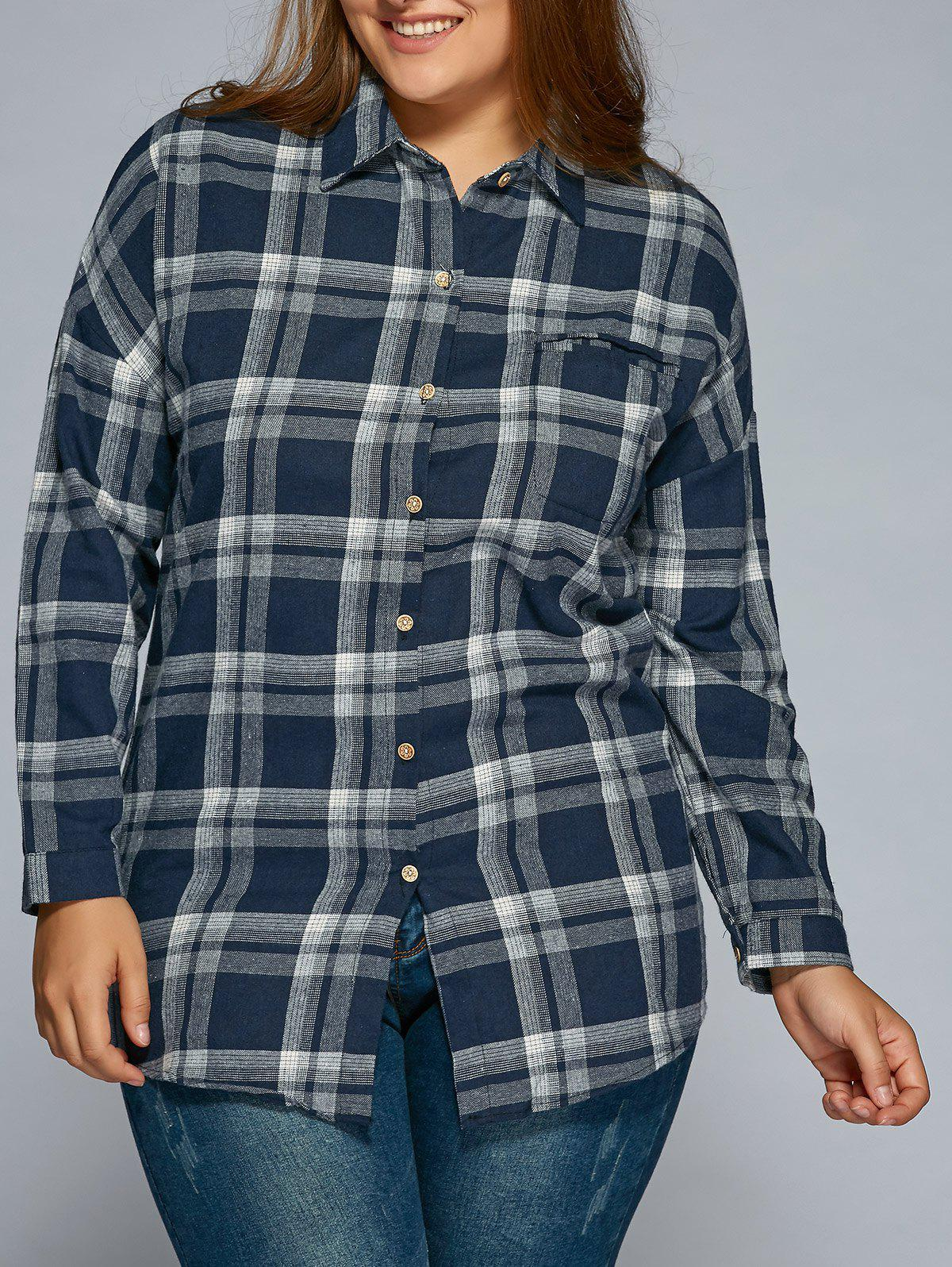 Plus Size Long Sleeve Plaid ShirtWomen<br><br><br>Size: 4XL<br>Color: CADETBLUE