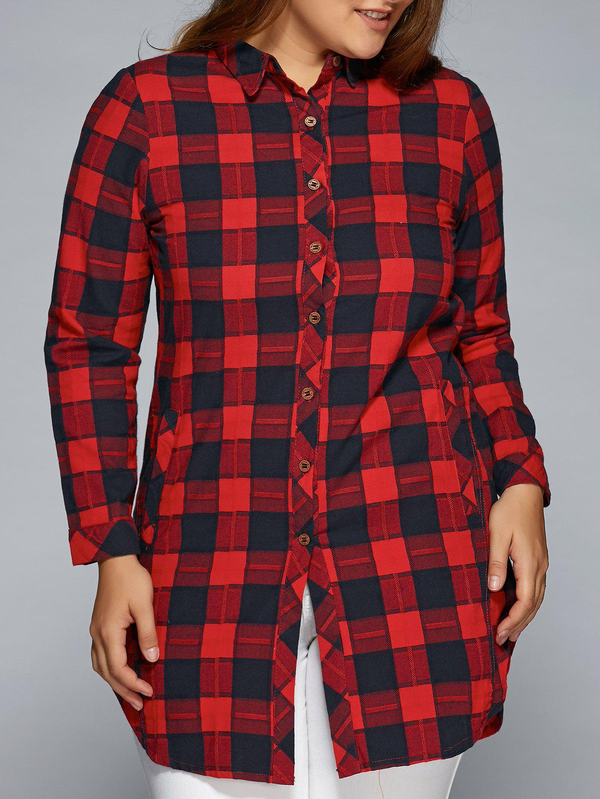 420ffdf93cf Plus Size Red And Black Plaid Shirt - BCD Tofu House