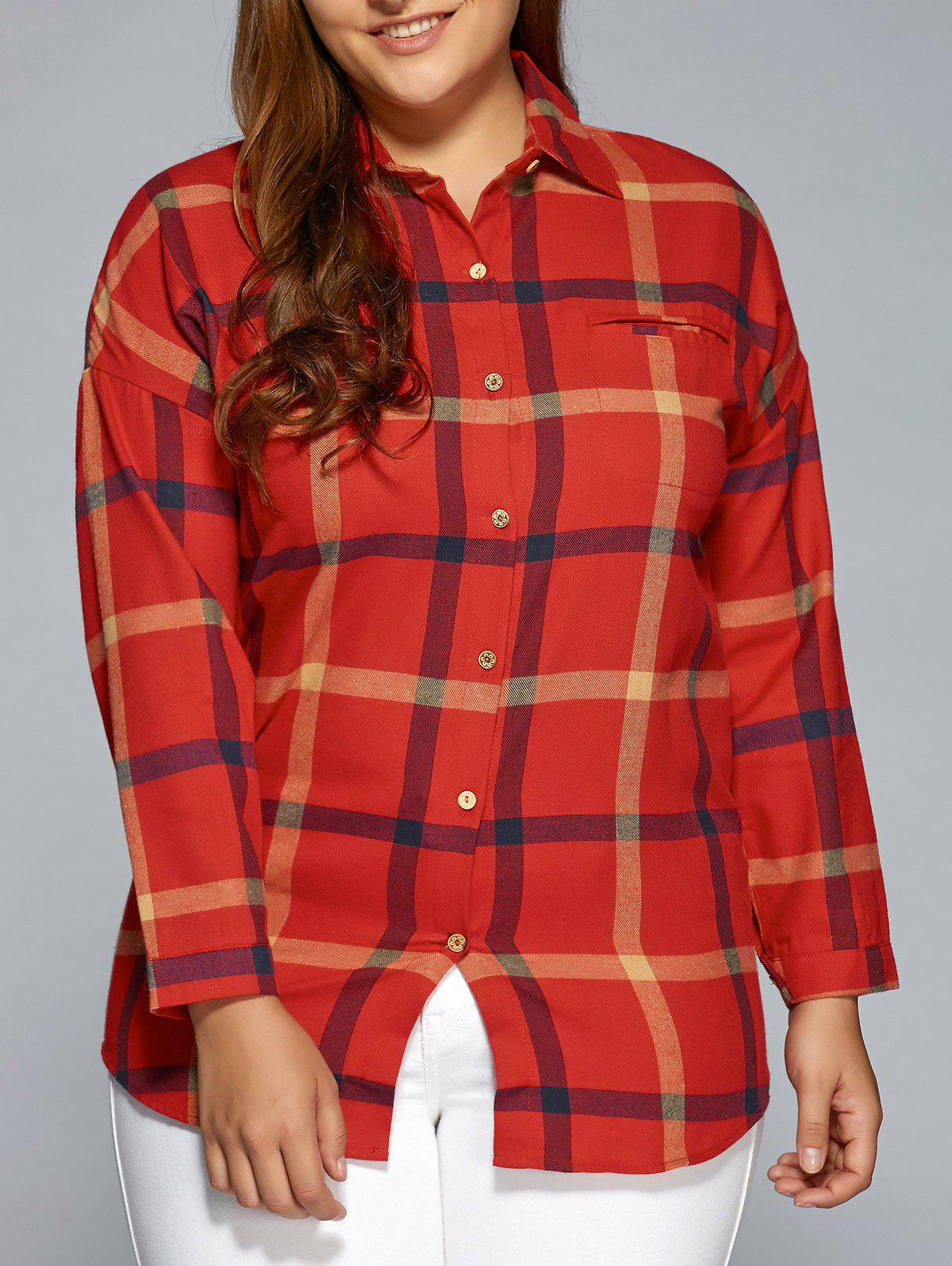 Plus size flannel plaid shirt red xl in plus size for Plus size plaid flannel shirt