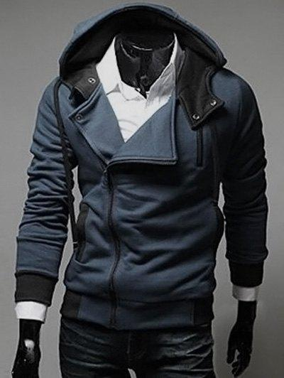 Street Style Side Zipper Long Sleeves Polyester Hoodies For Men - DEEP BLUE L