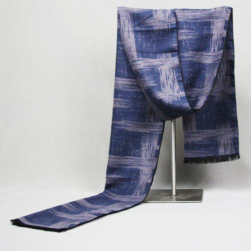 Tie-Dyed Straw Pattern Fringed Edge Scarf - BLUE