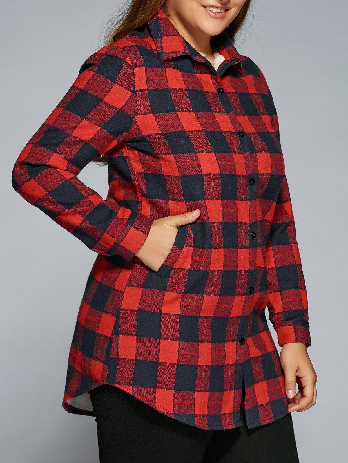 2018 plus size fleece flannel plaid shirt red xl in t for Plus size plaid flannel shirt