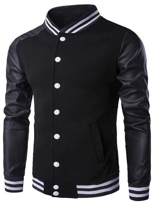 Button Up Faux Leather Insert Varsity Striped Jacket 197523005