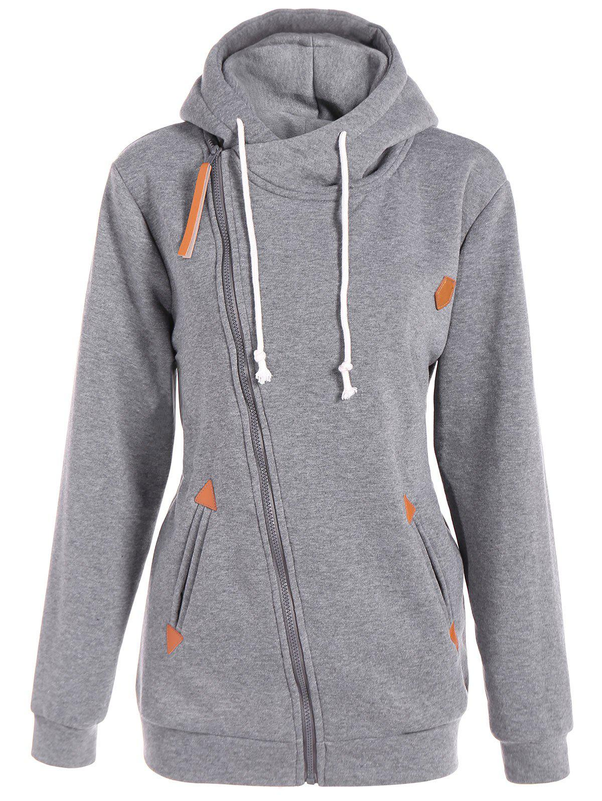 Plus Size Inclined Zipper Drawstring Hoodie - GRAY 2XL