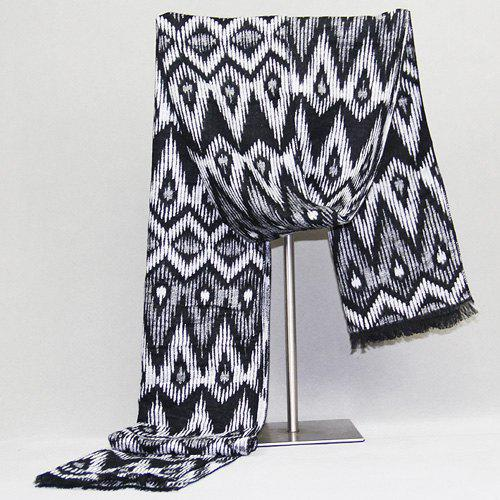 Aztec Pattern Fringed Edge Scarf - BLACK