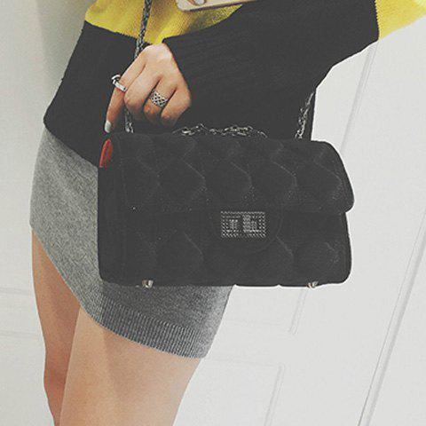 Argyle Pattern Chain Twist-Lock Closure Crossbody Bag - BLACK