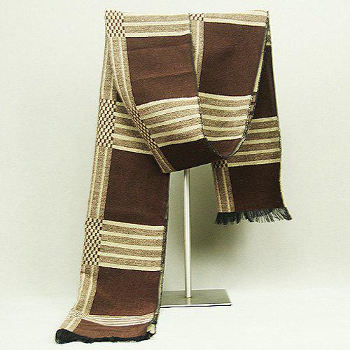 Checkered Pattern Fringed Edge Scarf - COFFEE