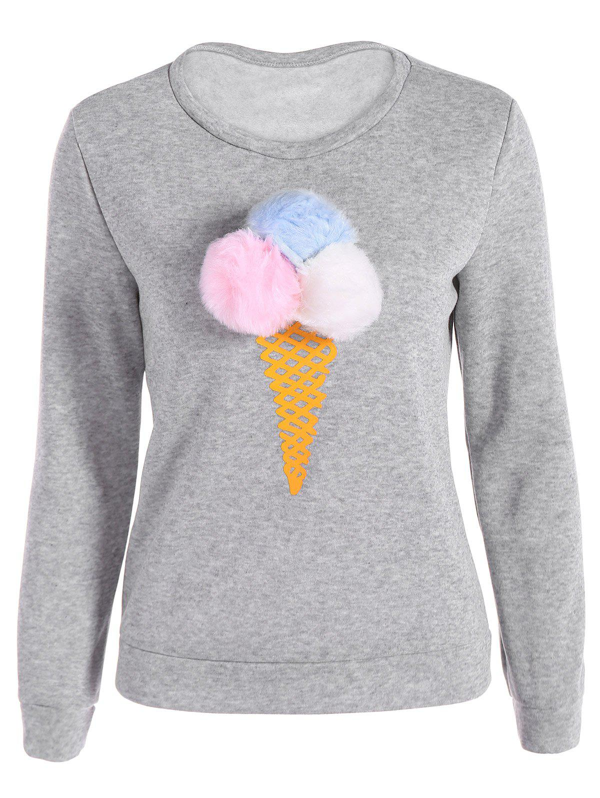 Pompon Ice-Cream Print Pullover Sweatshirt - GRAY XL