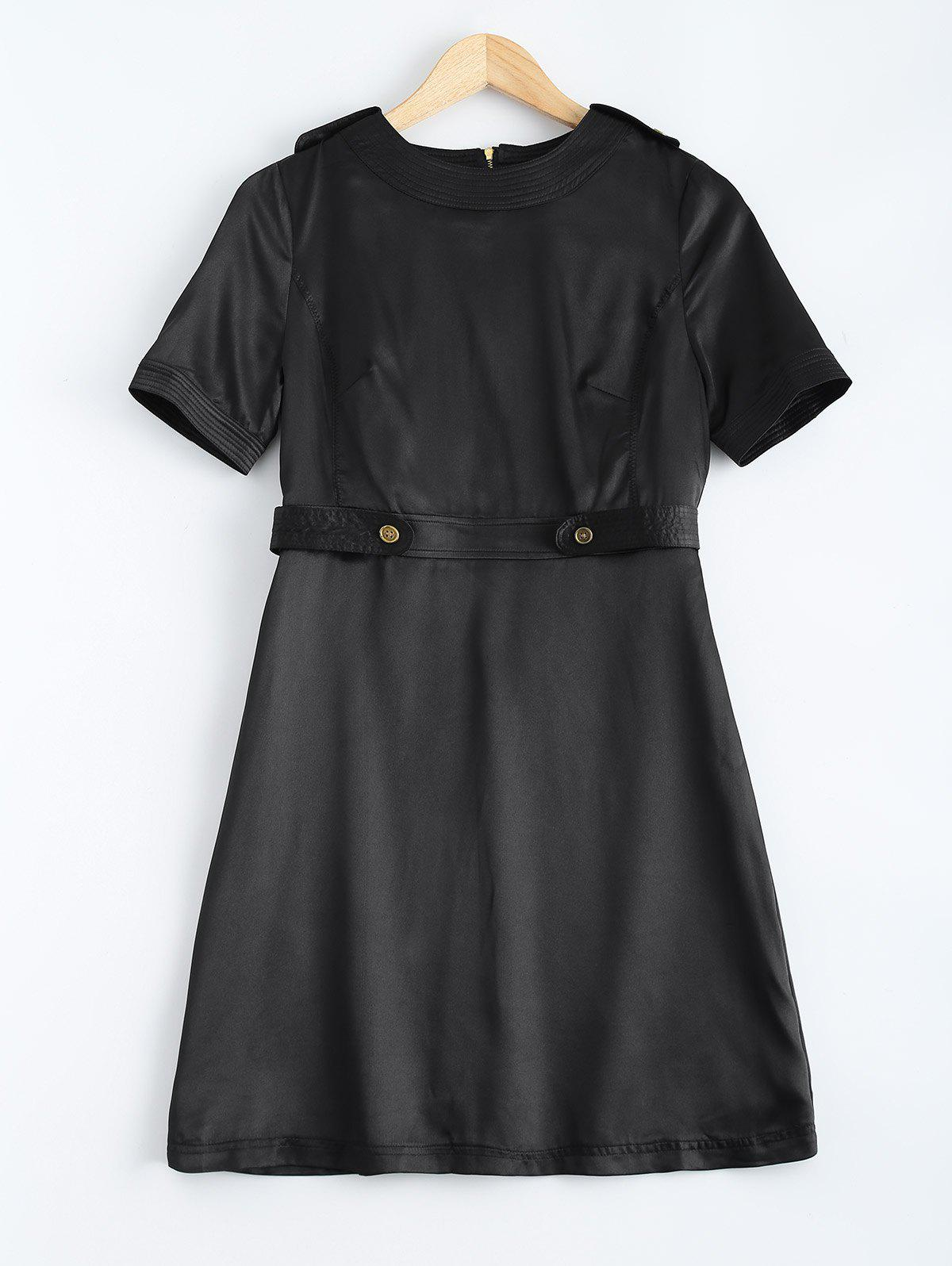 Belt Look Adorn Buttoned Dress - BLACK M
