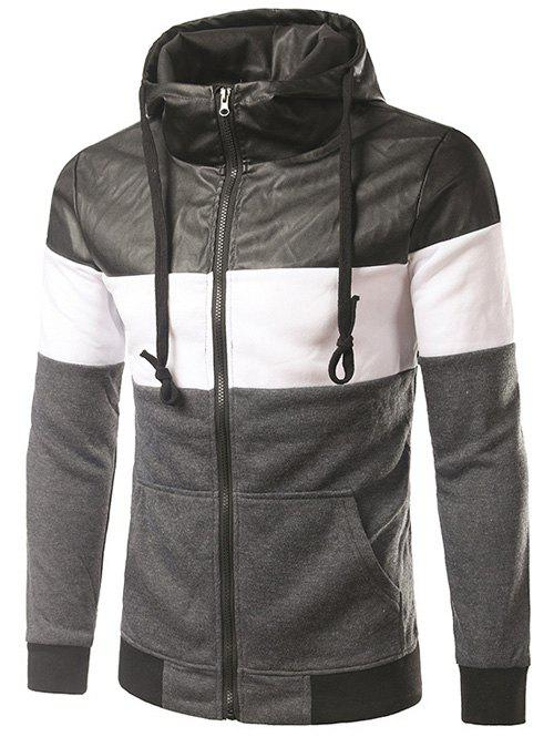 Color Block PU-cuir Spliced ​​capuche Zip-Up Hoodie - gris foncé M