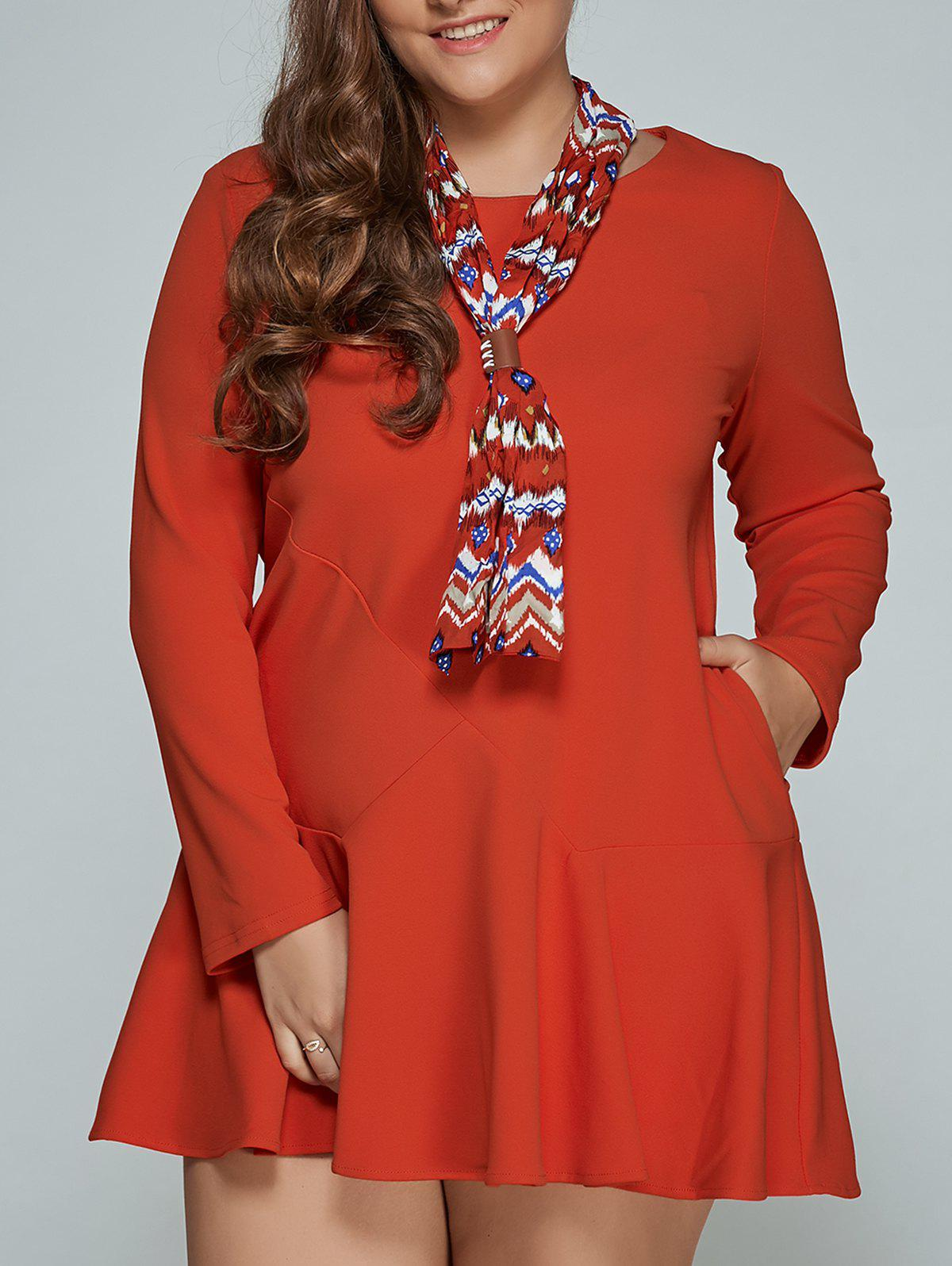 Mini Plus Size Robe longue manches - ORANGE RED 2XL