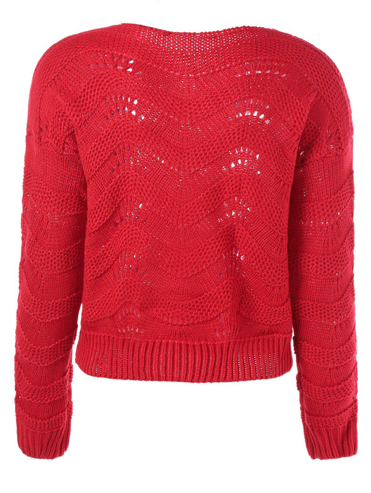 Ribbed Openwork Sweater - RED ONE SIZE