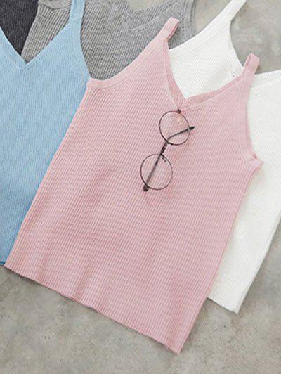 V Neck Knitted Tank TopWomen<br><br><br>Size: ONE SIZE<br>Color: PINK