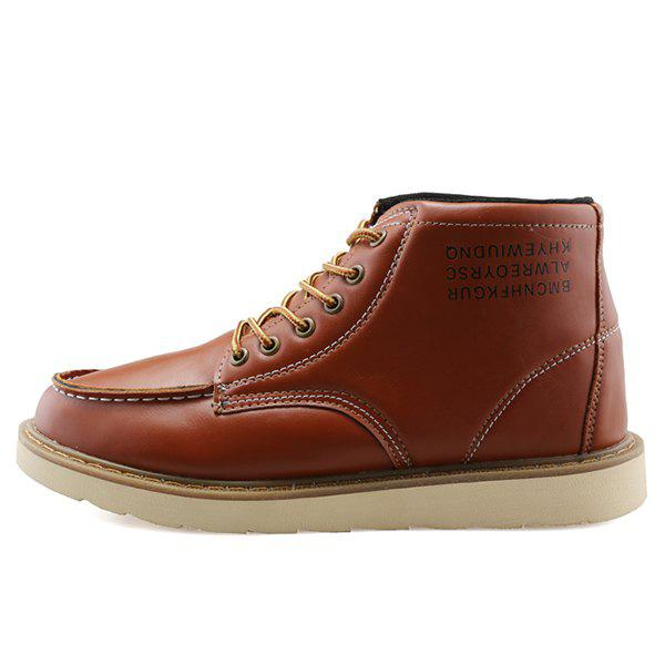 Lace Up Letter Print High Top Boots - BROWN 40