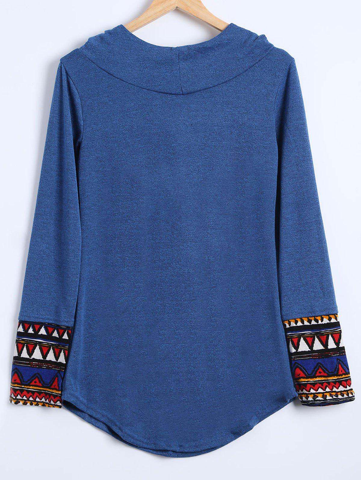 Splicing Hooded Long Sleeve T Shirt - BLUE XL