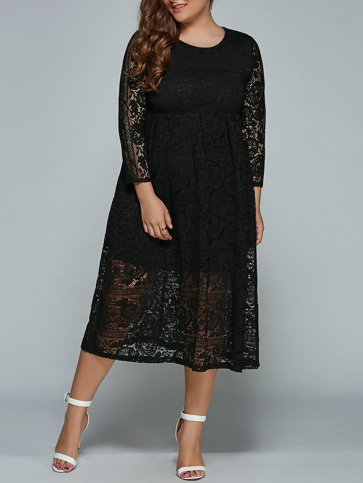 Midi Formal Plus Size Lace Dress - BLACK XL