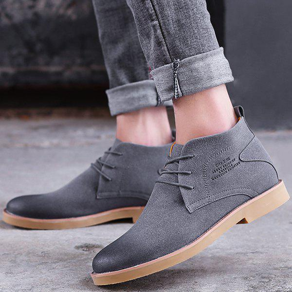 Pointed Toe Tie Up Casual Shoes - GRAY 44