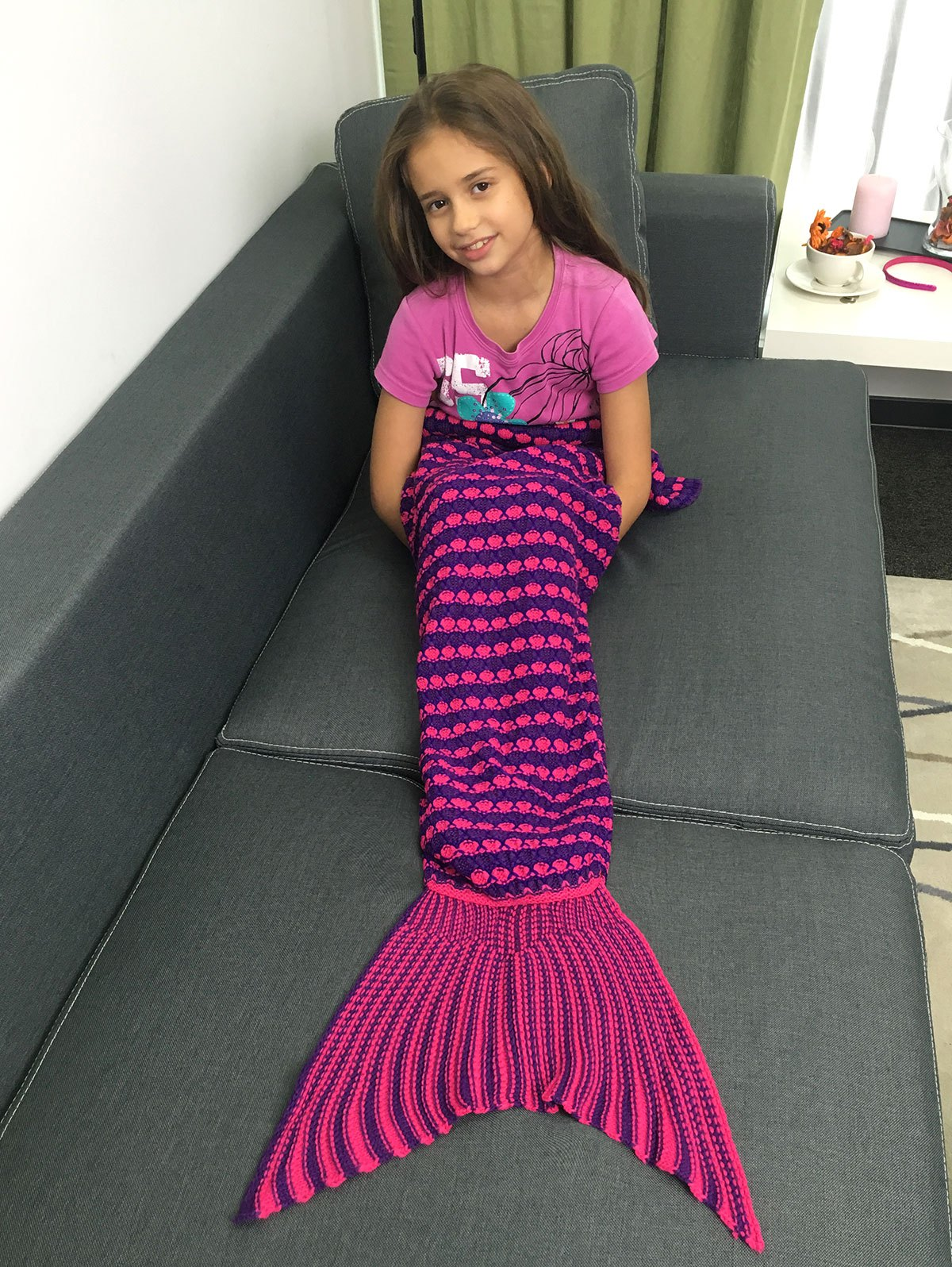 Warmth Color Block  Crochet Knitting Fish Scales Design Mermaid Tail Style Kids' Blanket - COLORMIX