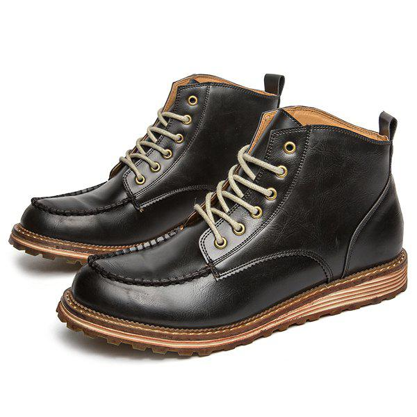 Round Toe Stitching High Top Boots - BLACK 41