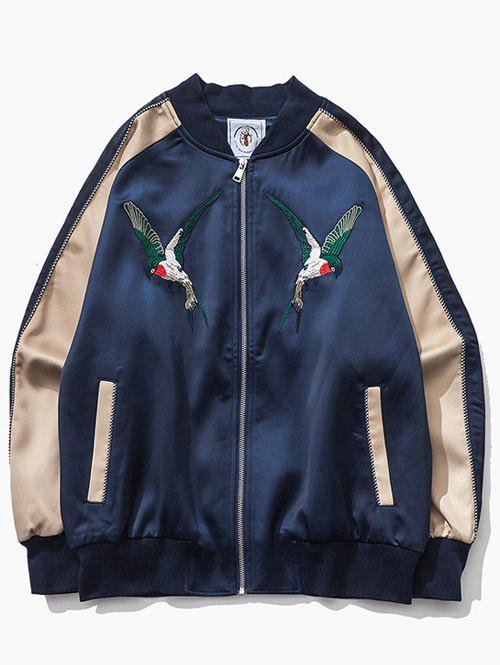 Color Block Bird Embroidered Raglan Sleeve Zip-Up Jacket sequin embroidered zip up jacket page 3