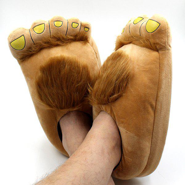 Faux Fur Color Splicing Cartoon Shape House Slippers - LIGHT BROWN ONE SIZE(36-42)