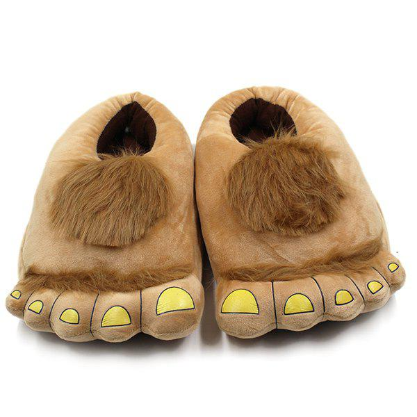 Faux Fur Color Splicing Cartoon Shape House Slippers
