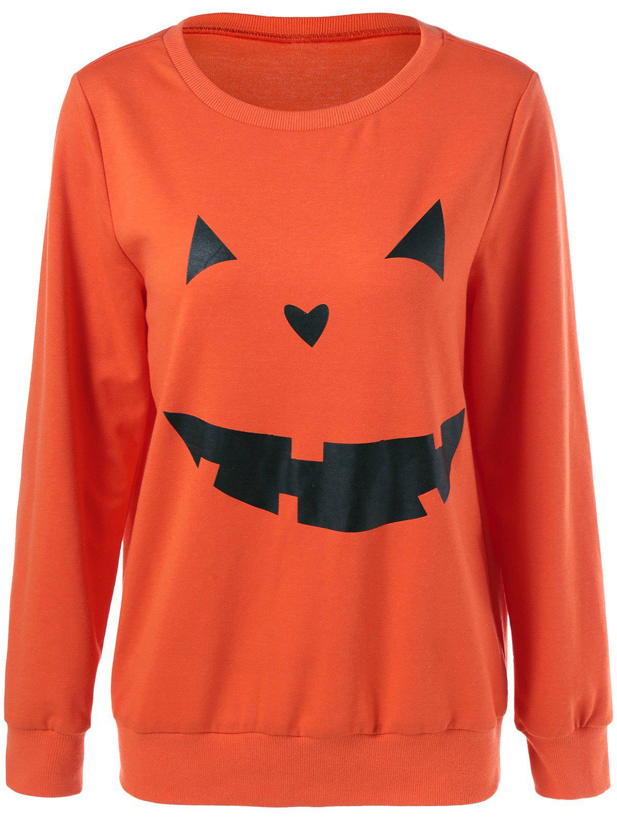 Sweat-shirt Halloween Imprimé Grimace - RAL Orange Vif XL