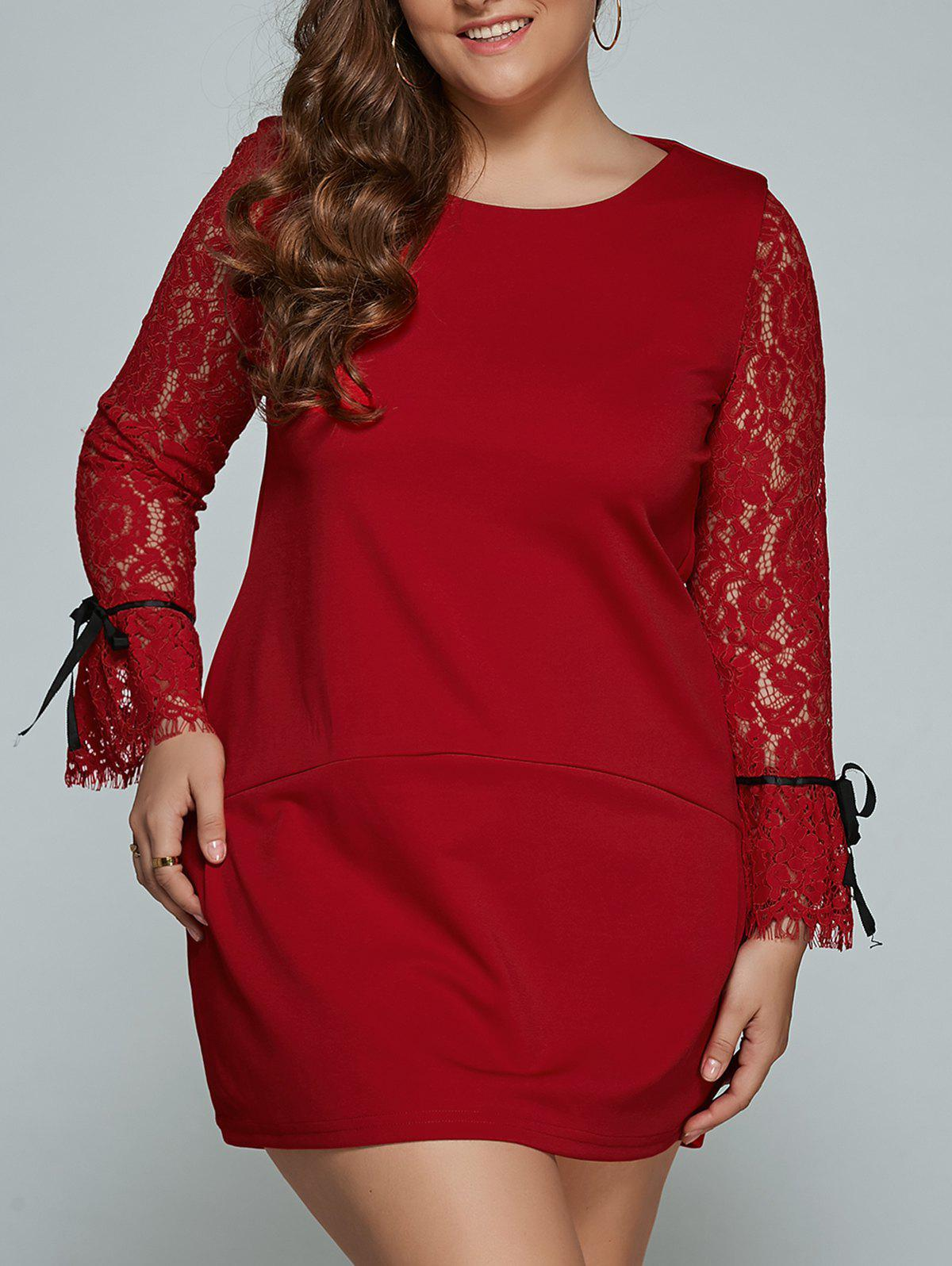 Lace Splicing Plus Size Mini Shift Dress - RED L