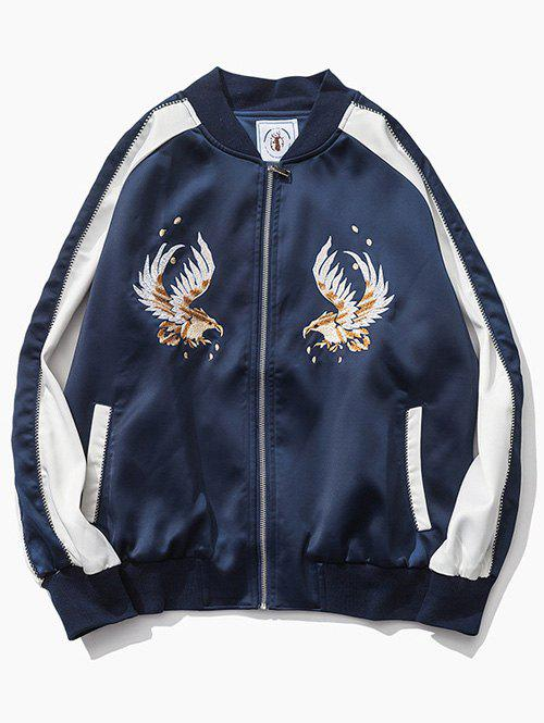 Color Block Eagle Embroidered Raglan Sleeve Zip-Up Jacket sequin embroidered zip up jacket page 9