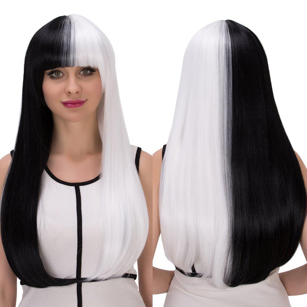 Cosplay Long Full Bang Straight Tail Adduction Double Color Synthetic Wig free shipping lori loli long straight yellow cute style full synthetic bangs cosplay party wig