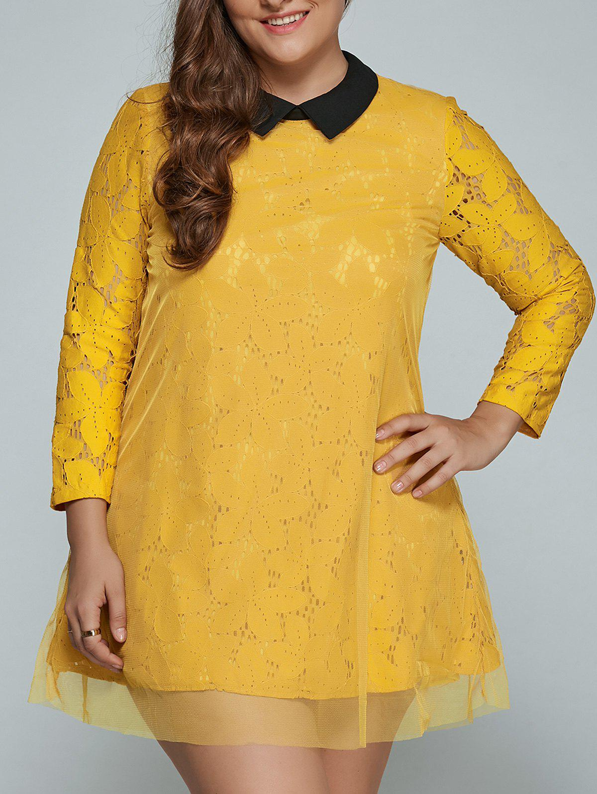Plus Size Mini Lace Long Sleeve Dress - YELLOW L