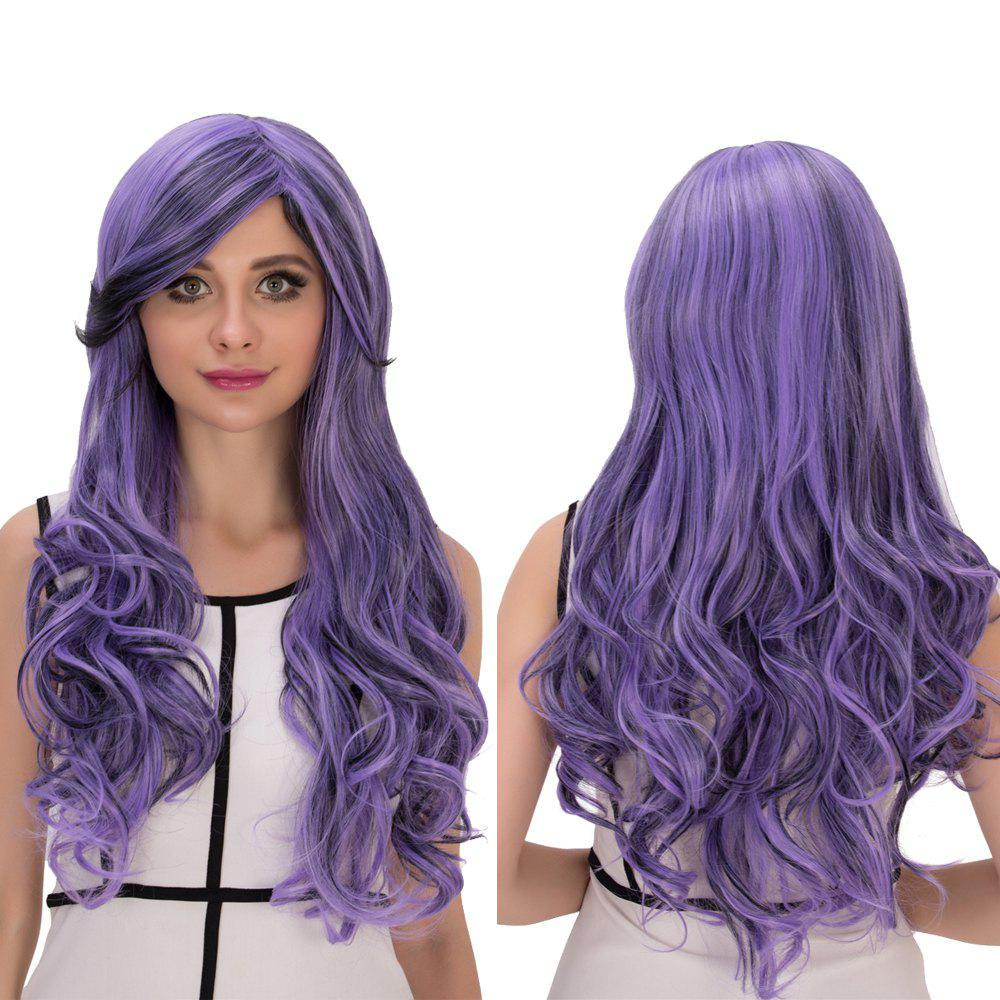 Cosplay Synthetic Long Purple Ombre Oblique Bang Wavy Wig free shipping vocaloid 3 aoki lapis long blue purple mix cosplay wig