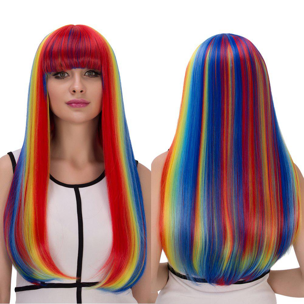 Cosplay Synthetic Rainbow Color Long Full Bang Tail ...