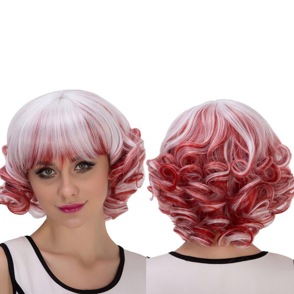 Cosplay Synthetic Double Color Short Full Bang Curly Wig cute sexy cosplay wig full bangs curly