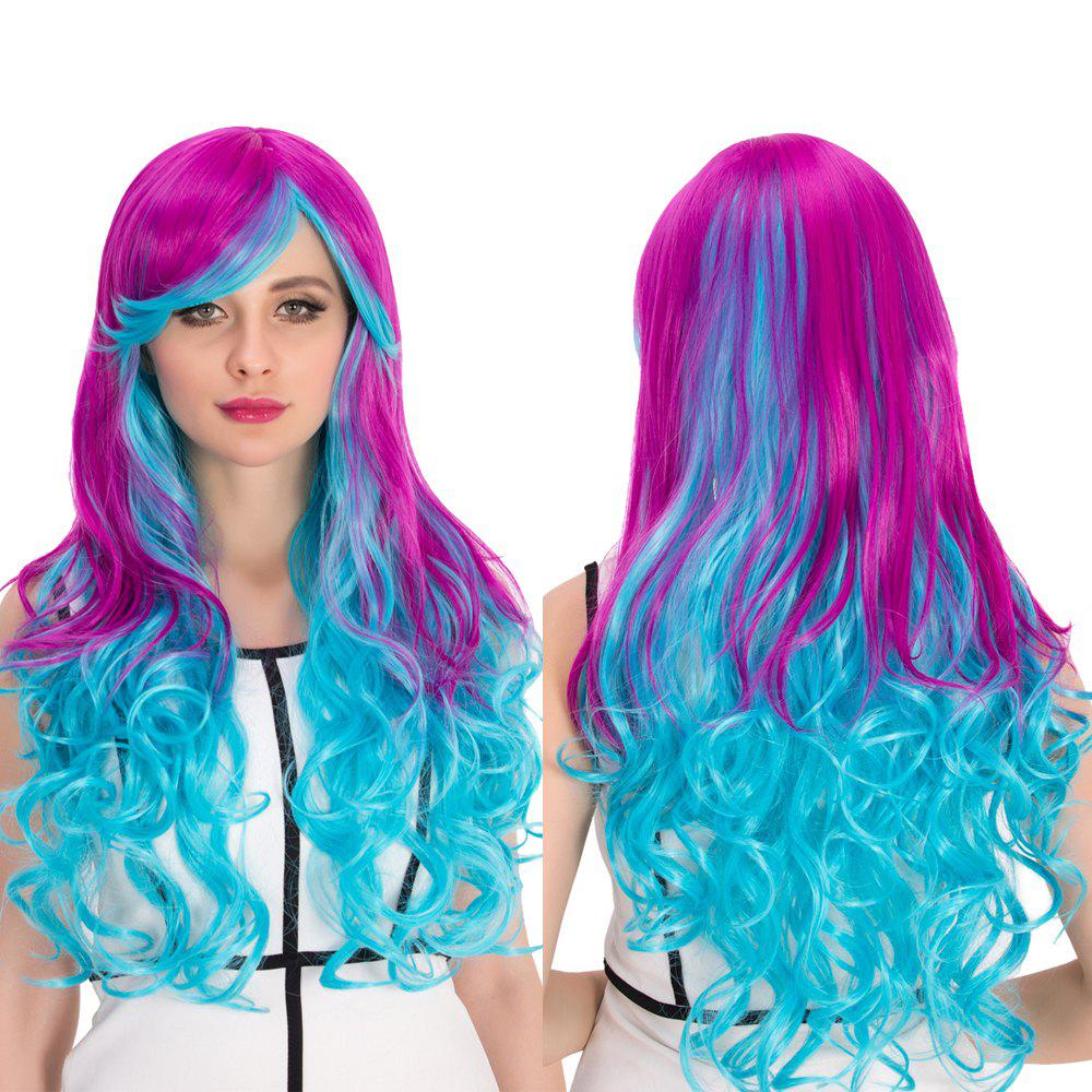 Cosplay Synthetic Long Purple Gradient Blue Inclined Bang Wavy Wig k19 16inch wavy purple gradient light