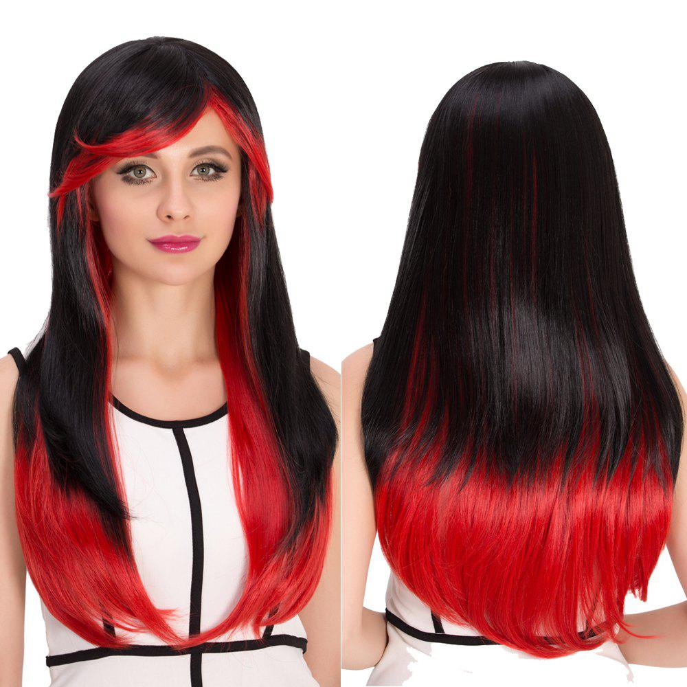Cosplay Synthetic Long Full Bang Double Color Tail Adduction Wig - RED/BLACK