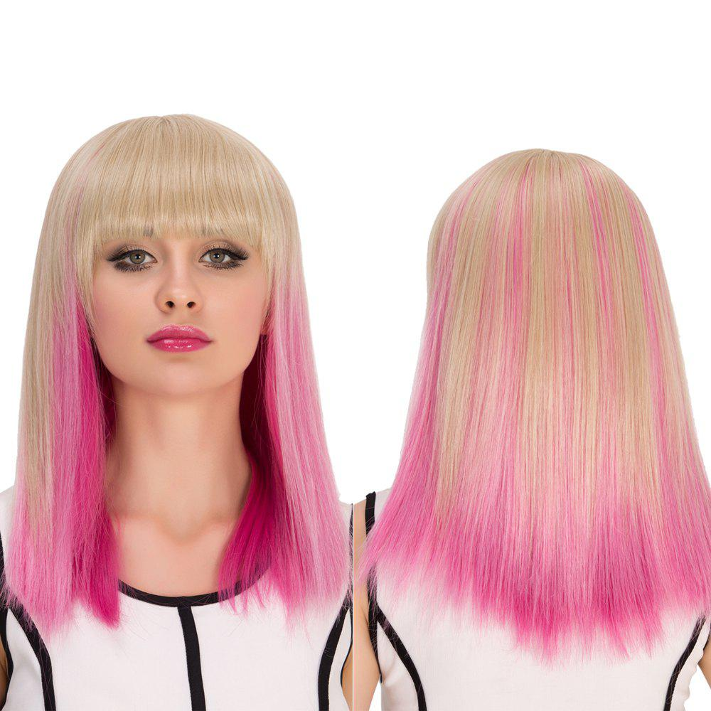 Medium Full Bang Straight Gradient Color Cosplay Synthetic Wig - COLORMIX