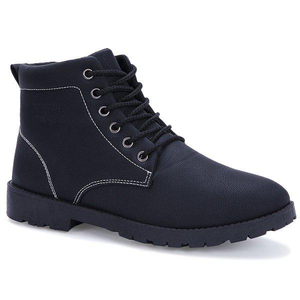 PU Leather Lace Up Vintage Boots - BLACK 42