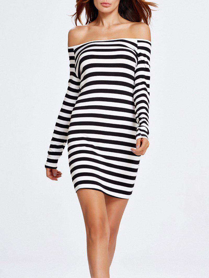 Off The Shoulder Stripe Tight Dress - BLACK L