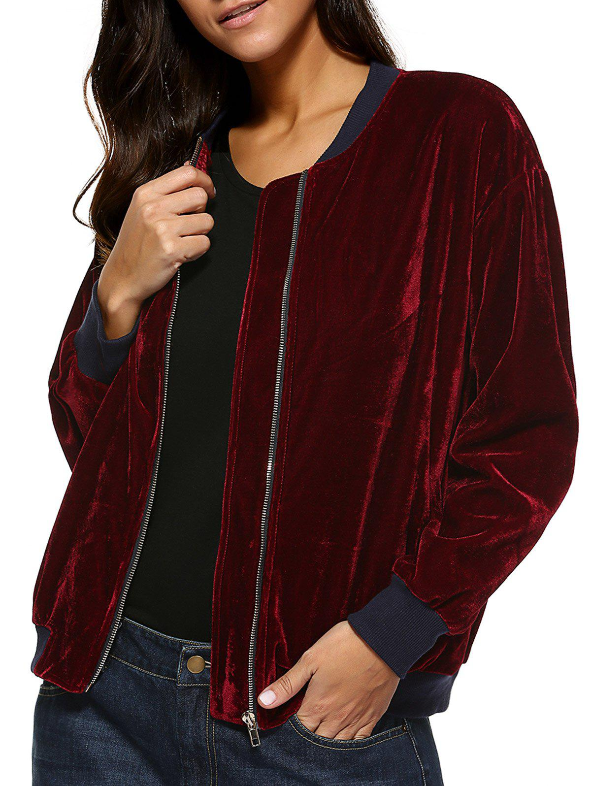 Pockets Design Velvet Jacket - CLARET M