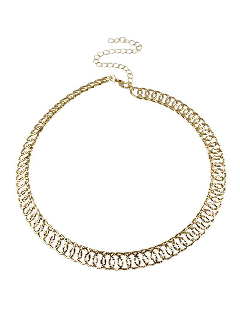 Alloy Circle Chain Choker Necklace - GOLDEN